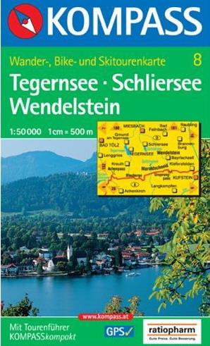 Kompass-Wanderkarte WK8 Tegernsee-Schliersee-Wendelstein