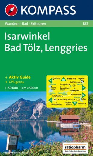 Kompass Wanderkarte Nr. 182, Isarwinkel Bad Tölz Lenggries