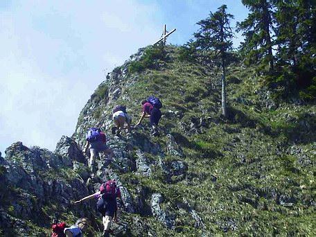 Die letzten Meter zum Gipfel der Zellerwand