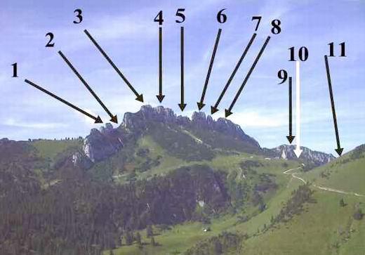 Die Kampenwand von der Gedererwand aus gesehen: 1. Äußerster Ostgipfel 2. Hochplattenscharte 3. Äußerer Ostgipfel mit Chiemgaukreuz 4. Ostgipfel mit Chiemgaukreuz 5. Schlechinger Scharte 6. Vorgipfel  (links) und Hauptgipfel (rechts) 7. Teufelsturm, rechts daneben der kleine Fels ist der Gmelchturm 8. Westgipfel 9. Scheibenwand 10. Kampenhöhe 11. südlicher Ausläufer des Sulten