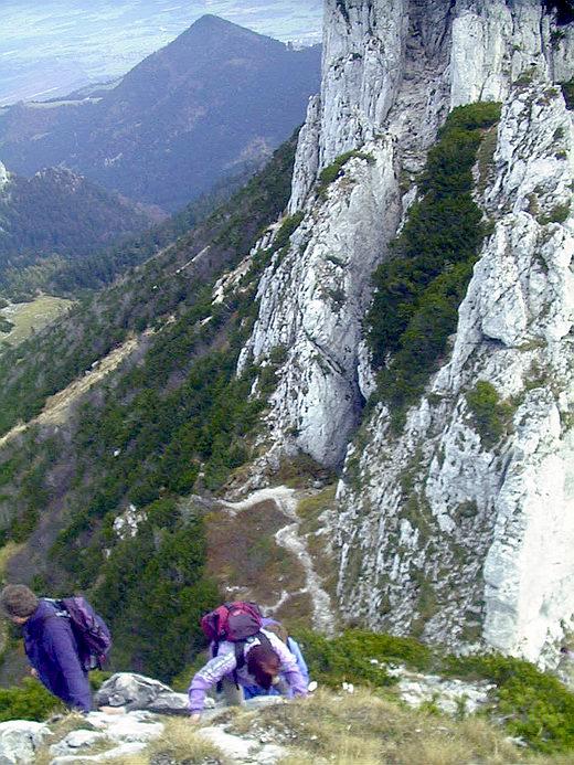 Abstieg vom Vorgipfel, der absolute Trittsicherheit und Schwindelfreiheit erfordert. Unten der Weg zu den Kaisersälen, im Hintergrund die Hochplatte.