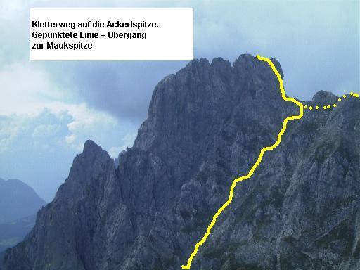 Der ungefähre Verlauf des Aufstiegs zum Gipfel.
