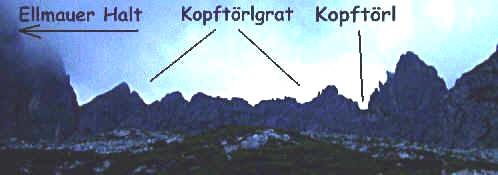 Der Kopftörlgrat von der Gruttenhütte aus gesehen.
