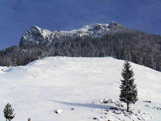 Naunspitze (links) und Petersköpfl (rechts). Die Vorderkaiserfeldenhütte ist hier schlecht zwischen den Bäumen erkennbar. Sie liegt ungefähr in der Bildmitte.