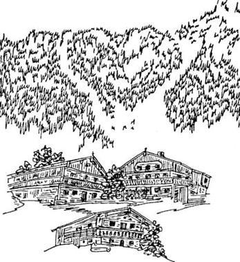Die Naturformation Erler Herz ist ein herzförmiger Bergeinschnitt, der vom Ort aus gut als solcher erkennbar ist. Hier eine Federzeichnung der Dichterin Katharina Kitzbichler aus Erl (siehe hierzu auch das Gedicht unten).