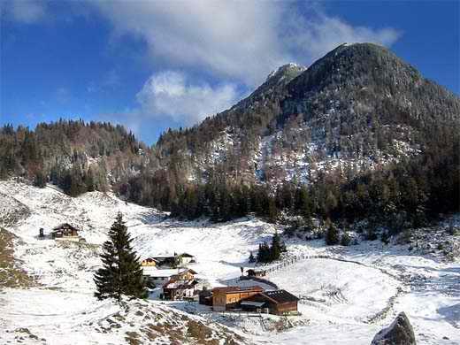 Die Walleralm vom Gipfel des Kreuzbichl. Dominierend der bewaldete Zettenkaiserkopf, links dahinter (größtenteils verdeckt) der Scheffauer.