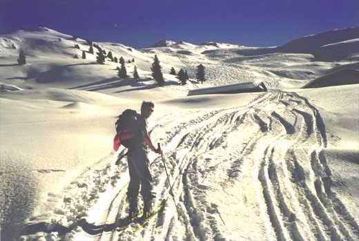 Bei den Fiderißalmen (1742 m), im Hintergrund der Gipfel des Hohen Kopfes.
