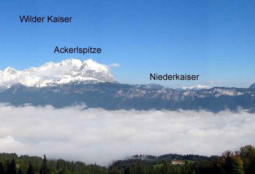 Blick vom Kitzbühler Horn. Der östliche Teil des Wilden Kaisers mit dem Niederkaiser.