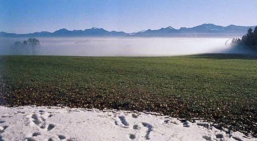 Auf der Ratzinger Höhe - Blick über ein Nebelmeer auf die Chiemgauer Alpen Foto: Gerhard Hirtlreiter