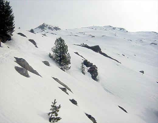Die letzten 800 - 900 Meter zum Gipfel. Das Gipfelkreuz ist die unscheinbare Kuppe rechts der Bildmitte. Links davon das Wetterkreuz. Zwischen diesem und dem Gipfelkreuz liegen noch 30 - 40 Minuten !