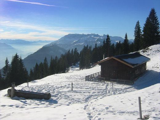 Die romantisch gelegene Jocheralm. Im Hintergrund das felsige Rofan-Gebirge. Links im Dunst das Inntal.