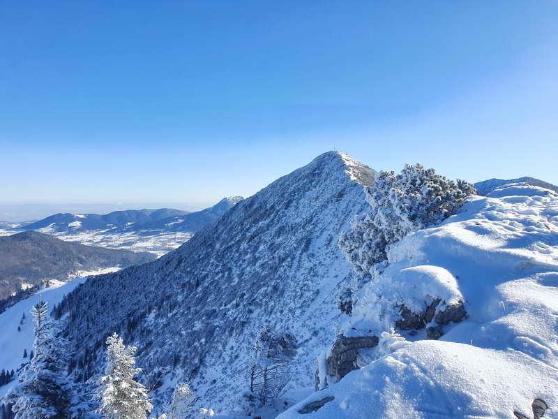 Blick vom Freudenreichsattel auf die Brecherspitze. Der Übergang auf dem Grat ist oft für Skitourengeher nicht begehbar.