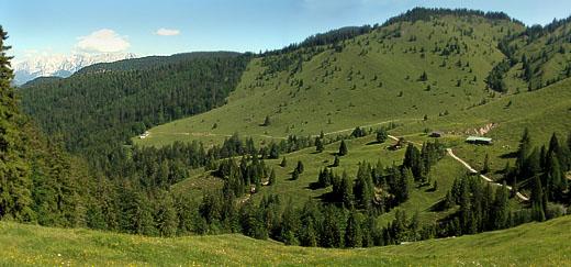 Die Oberaudorfer Almen: Man sieht den Verlauf des Weges, bis er links (nach dem hellen Gebäude) in den Wald mündet. Kurz darauf geht es durch den Wald hinab zum Gießenbach-Parkplatz.