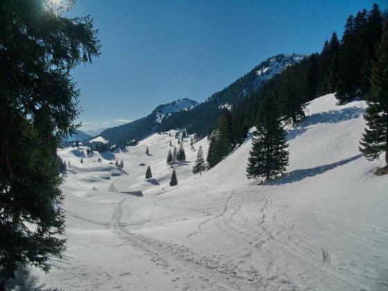 Das Trockenbachtal. In der Bildmitte der Karkopf, rechts daneben die Hochries. In der Mulde zwischen beiden fährt man ab ins Trockenbachtal.