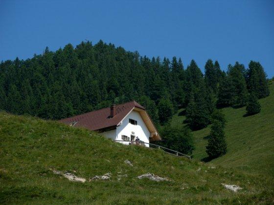 Die Staffelalm und dahinter der Rabenkopf. Das nahe Gipfelkreuz täuscht: Gute 30 Minuten dauert der Aufstieg zum Gipfel.