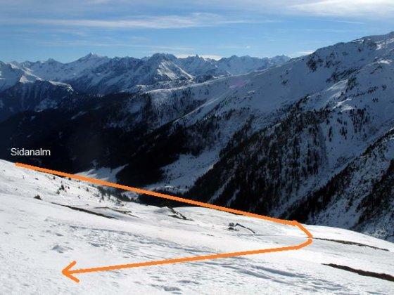 Die letzten Meter - der Hang unterhalb der Rastkogelhütte.