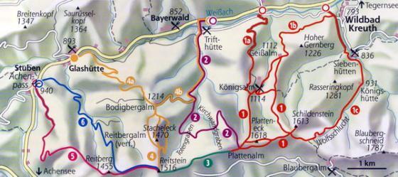 Diese Karte enthält mehrere Touren. Relevant für diese Tourenbeschreibung ist der Weg Nr. 2.