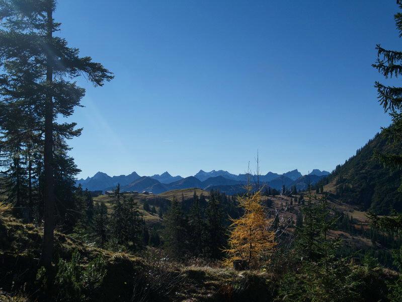 Fast am Ziel: Vor den Karwendelbergen sehen wir die Hütten der Rotwandalmen vor uns.