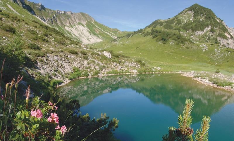 Durch die grüne Mulde über dem Delpssee führt der Anstieg zur Tölzer Hütte