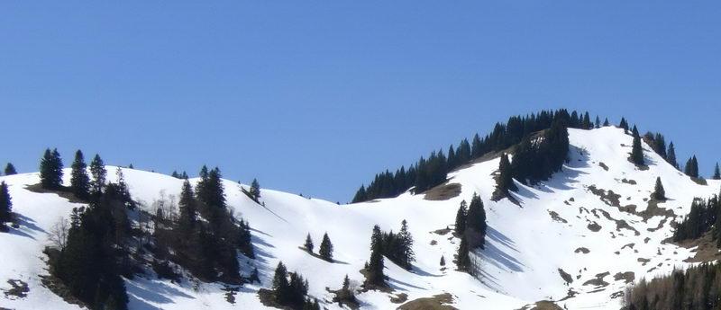 Der Gipfel des Kössener Karkopfes (rechts), von der Karalm aus.
