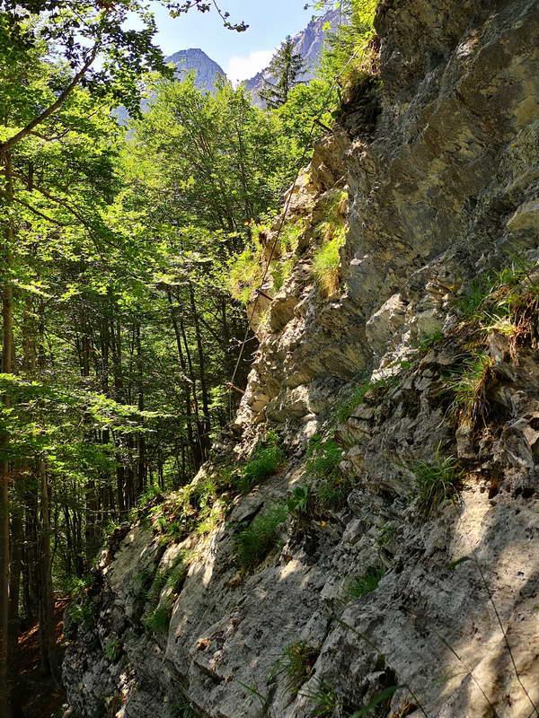 Der Mittelteil des kurzen Klettersteigs