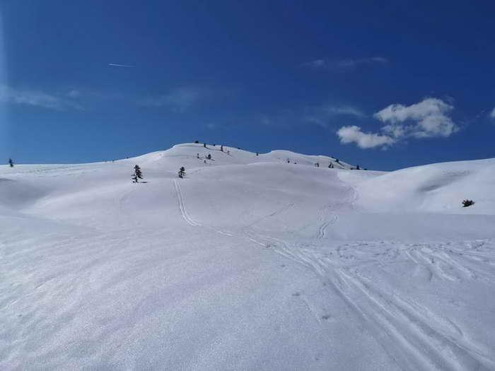 Prädestiniert für Schneeschuhwanderungen: im Hintergrund der Gipfel des Kleinen Gamsstein