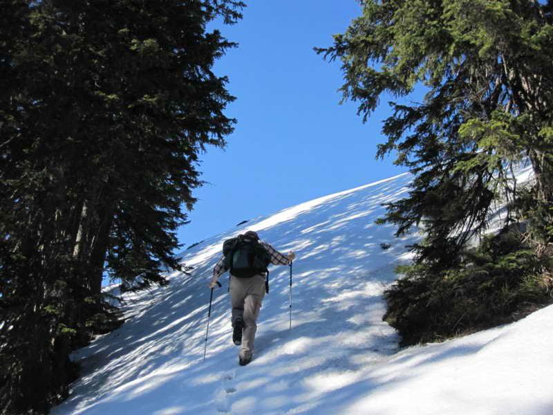 Am Steilaufstieg wenige Meter unterhalb des Gipfels.  Foto © Eli