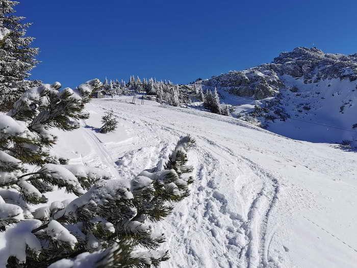 Die Hochfläche kurz vor der Lacherspitz (Gipfel rechts)