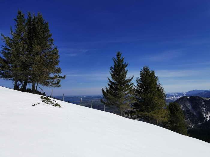 Schönes, wenn auch kleines Schneeschuhgelände im Gipfelbereich